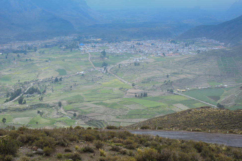 Overlooking the town of Chivay, Peru.