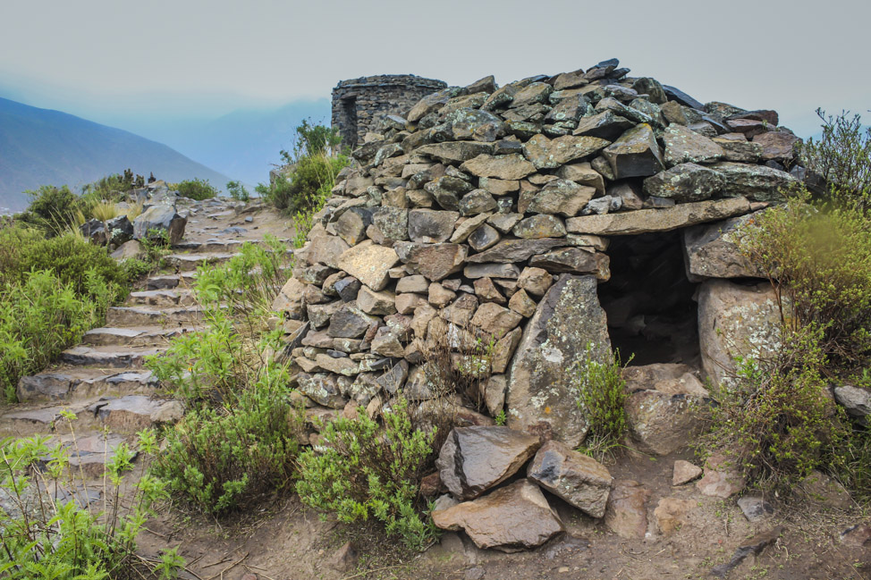 Stone watchtower and food storehouses in Chivay, Peru.